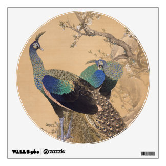 A Pair of Peacocks in Spring by Imao Keinen Wall Decal