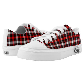 A pair of red and black plaid shoes