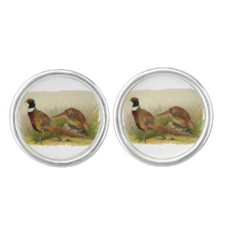 A pair of Ring necked pheasants in a grassy field Cufflinks
