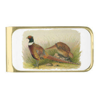 A pair of Ring necked pheasants in a grassy field Gold Finish Money Clip