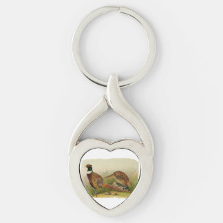 A pair of Ring necked pheasants in a grassy field Silver-Colored Heart-Shaped Metal Keychain