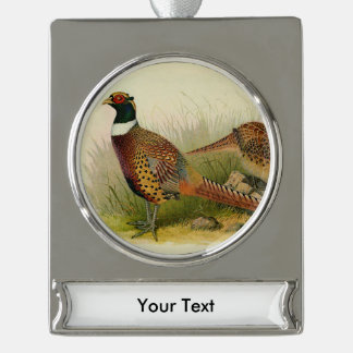 A pair of Ring necked pheasants in a grassy field Silver Plated Banner Ornament