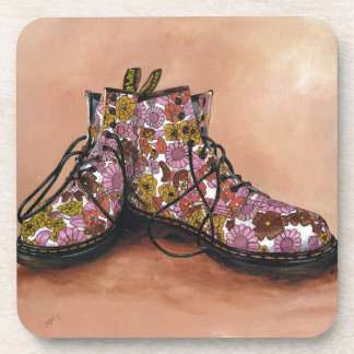 A Pair of Treasured Flowery Boots Beverage Coaster