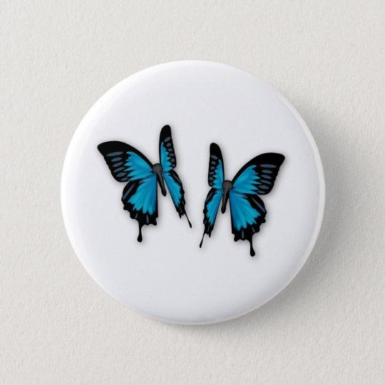 A Pair of Tropical Blue Butterflies Button
