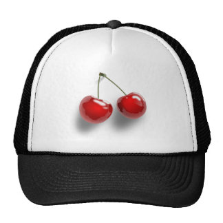 A Pair of Two Red Shinny Cherries on their Stem Trucker Hat