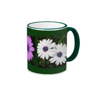 A Pair of White African Daisies Coffee Mugs