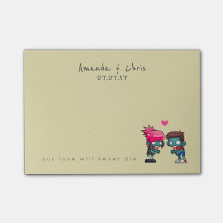 A Pair of Zombies in Love Wedding Post-it Notes