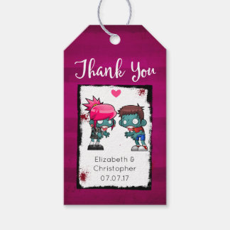 A Pair of Zombies in Love Wedding Thank You Gift Tags