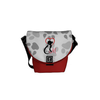 A-PAL Logo | Monogram Cat and Dog Red Heart Courier Bag