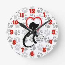 A-PAL - Logo with Paw Prints Round Clock