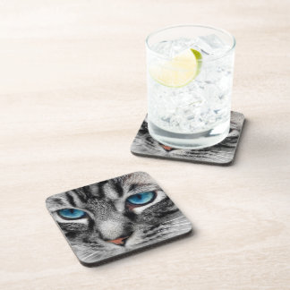 A-PAL - Silver Tabby Cat with Blue Eyes Close Up Beverage Coaster