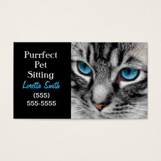 A-PAL - Silver Tabby Cat with Blue Eyes Close Up Business Card