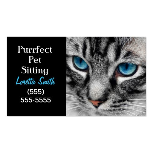 A-PAL - Silver Tabby Cat with Blue Eyes Close Up Business Card Template