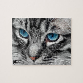 A-PAL - Silver Tabby Cat with Blue Eyes Close Up Jigsaw Puzzle