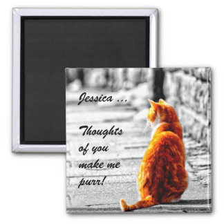 A-PAL Tinted Orange Tabby Cat Painting Custom Magnet