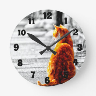 A-PAL Tinted Orange Tabby Cat Painting Custom Round Clock