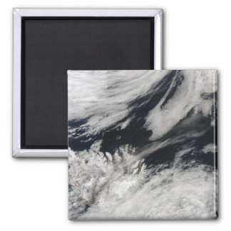 A pale gray ash plume blows from the summit 2 inch square magnet