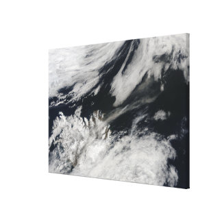 A pale gray ash plume blows from the summit gallery wrap canvas