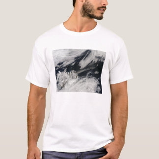 A pale gray ash plume blows from the summit T-Shirt