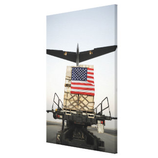 A pallet containing humanitarian relief supplie stretched canvas prints