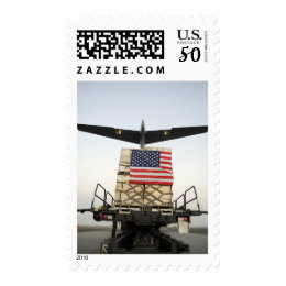 A pallet containing humanitarian relief supplie postage