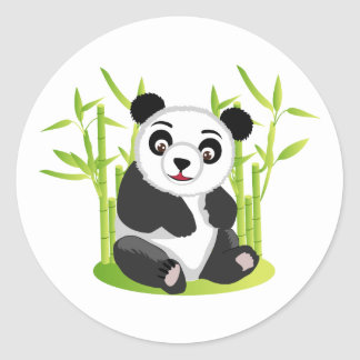 A Panda and his Bamboo Classic Round Sticker