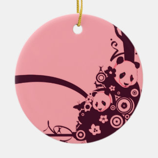 A Panda Pattern 3 Christmas Ornaments