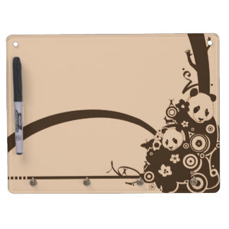 A Panda Pattern Dry Erase Board With Keychain Holder