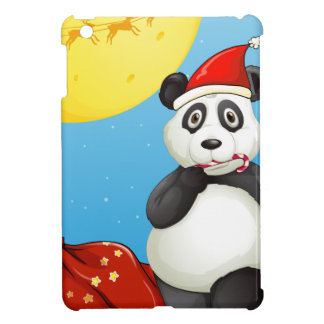 A panda wearing Santa's hat while eating a cane lo Case For The iPad Mini