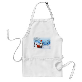 A panda with a red sack adult apron