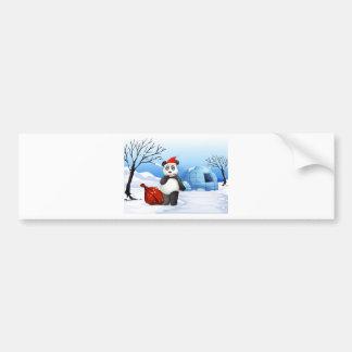 A panda with a red sack bumper sticker