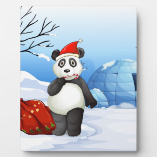 A panda with a red sack plaque