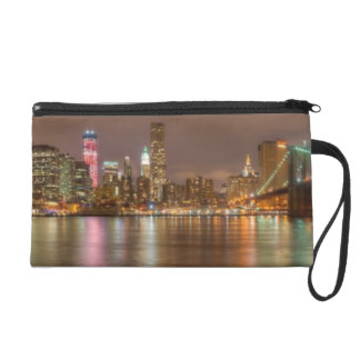 A panorama of the New York City skyline Wristlet Clutch