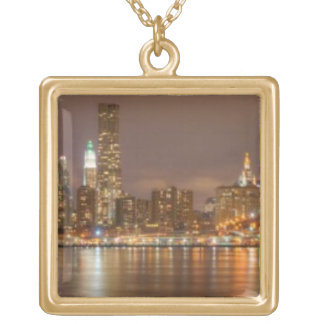 A panorama of the New York City skyline Gold Plated Necklace