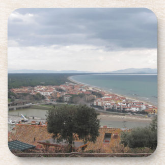 A panoramic view of the Tuscany coastline in Casti Drink Coaster