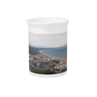 A panoramic view of the Tuscany coastline in Casti Drink Pitcher