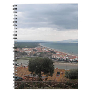 A panoramic view of the Tuscany coastline in Casti Notebook