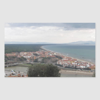 A panoramic view of the Tuscany coastline in Casti Rectangular Sticker
