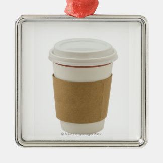 A paper coffee Cup Square Metal Christmas Ornament