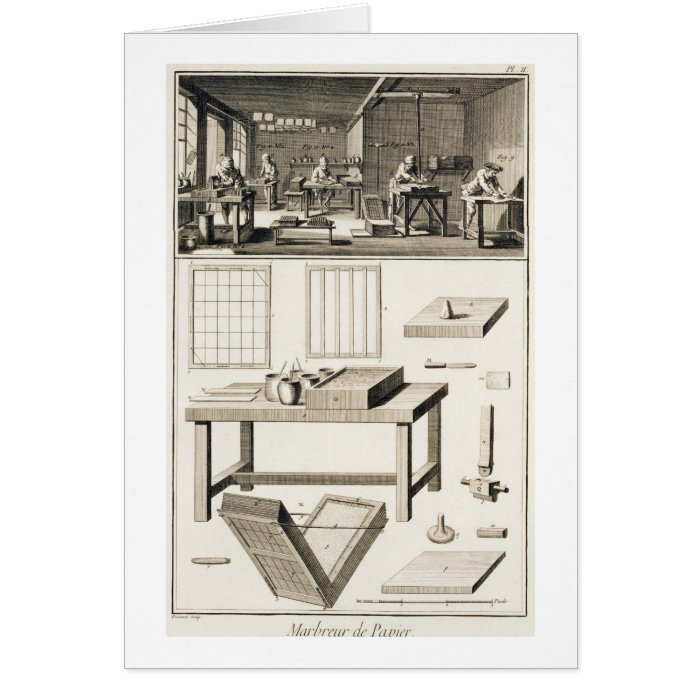 A paper marbler's workshop and tools, from the 'En Card