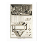 A paper marbler's workshop and tools, from the 'En Postcards