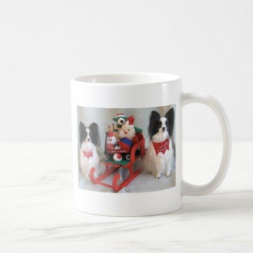 A PAPILLON CHRISTMAS COFFEE MUGS