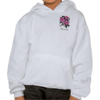 A para el monograma de la flor de la azalea sudadera pullover