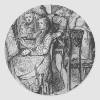 A Parable of Love by Dante Gabriel Rossetti Classic Round Sticker