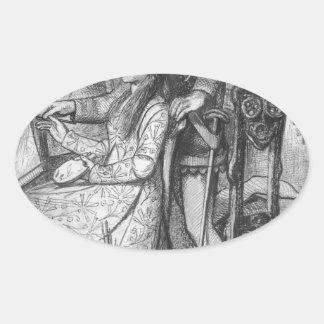 A Parable of Love by Dante Gabriel Rossetti Oval Sticker