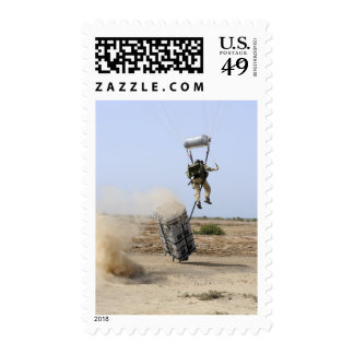 A pararescueman drops into the zone postage stamp