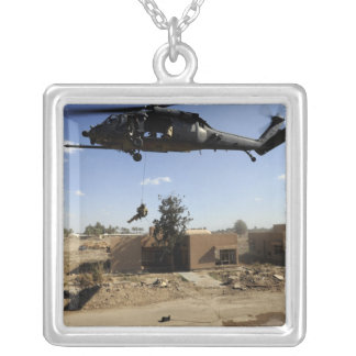 A pararescueman rappels from an HH-60 2 Silver Plated Necklace