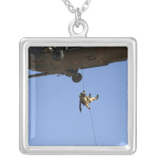 A pararescueman rappels from an HH-60 Silver Plated Necklace