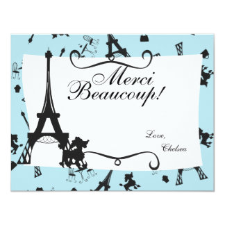 A Parisian Party thank you note in Pink Card