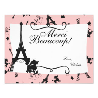 A Parisian Party thank you note in Pink Personalized Invite